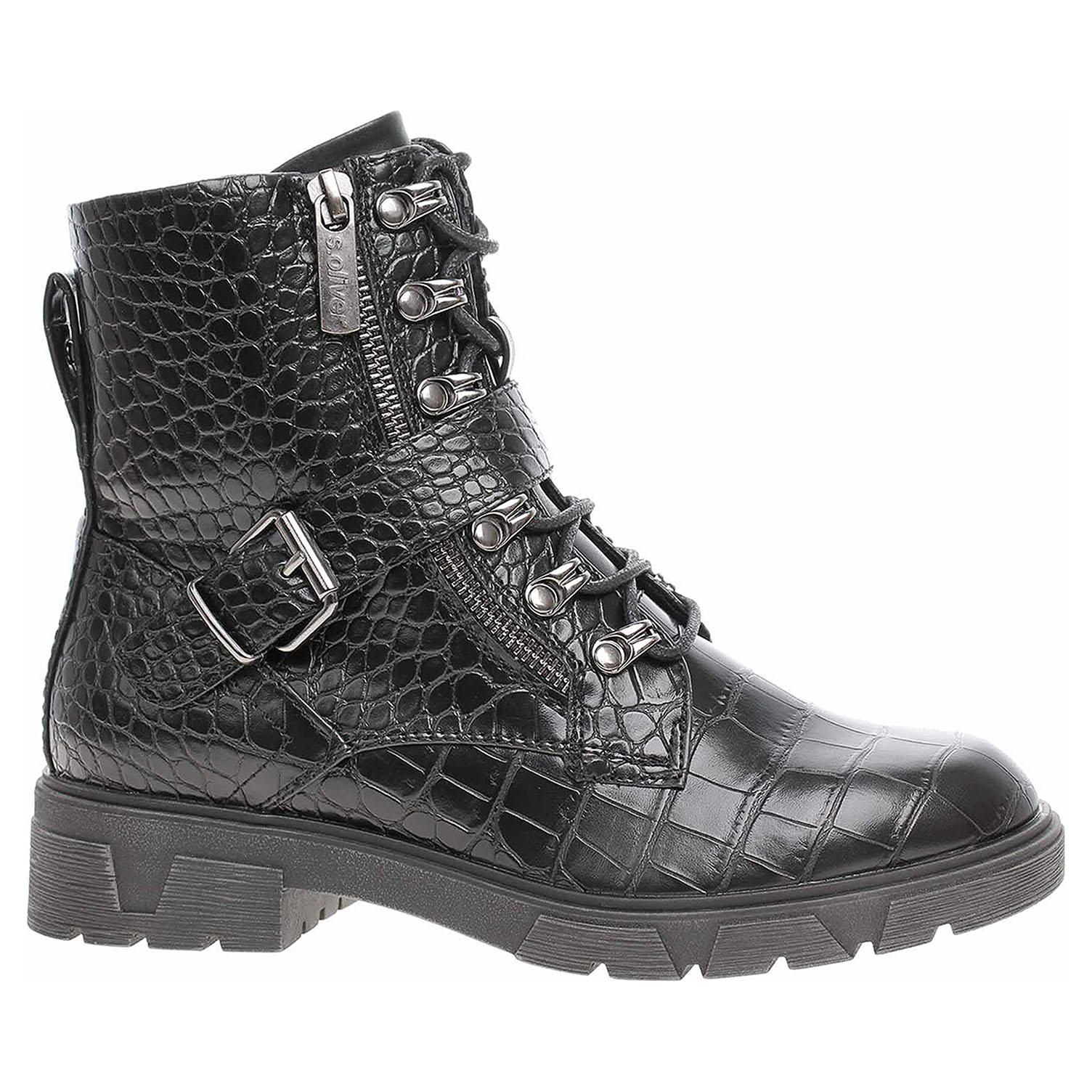 Dámská kotníková obuv s.Oliver 5-25227-25 black croco 5-5-25227-25 054 38