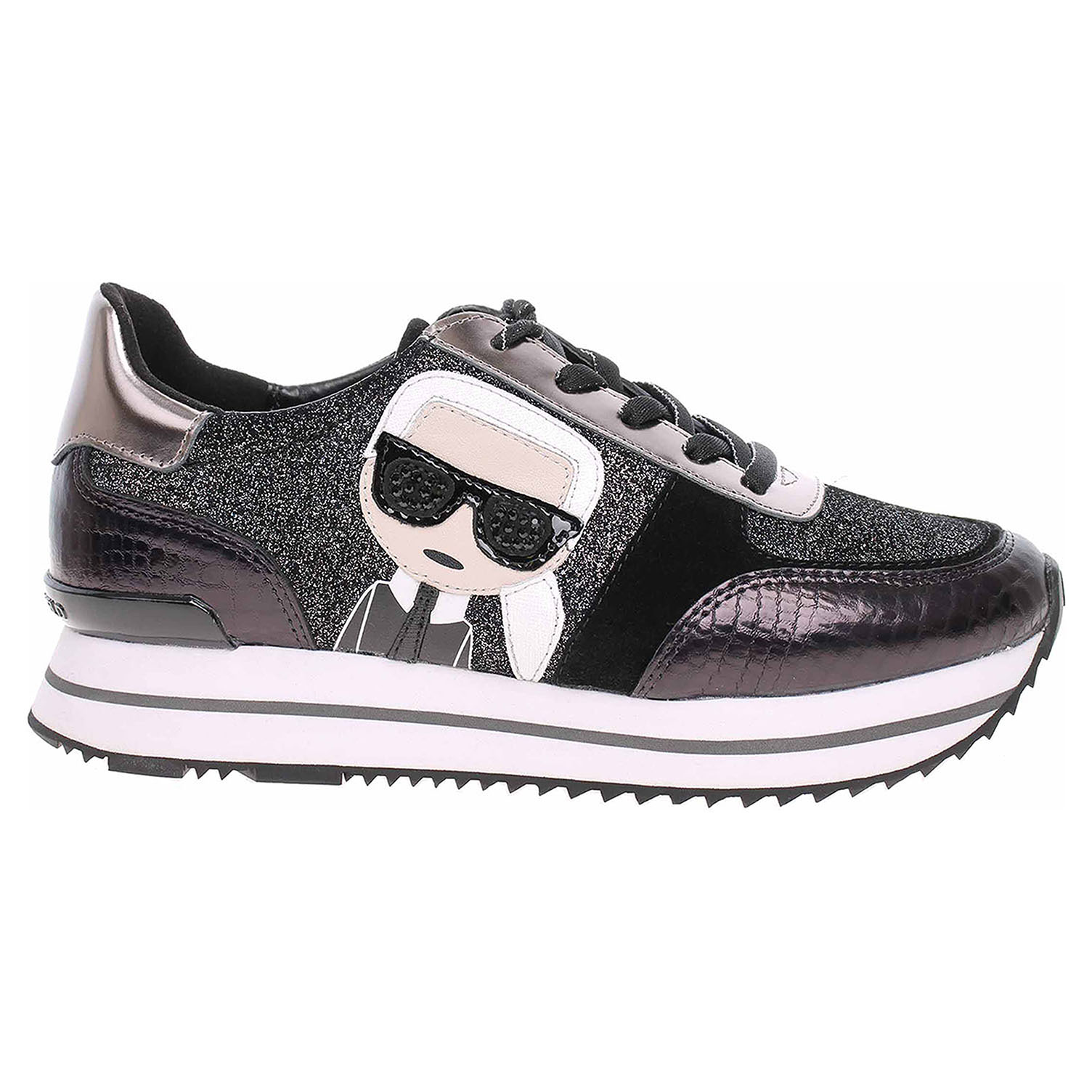 Dámská obuv Karl Lagerfeld KL61932 G0L black glitter-silver KL61932 G0L 39