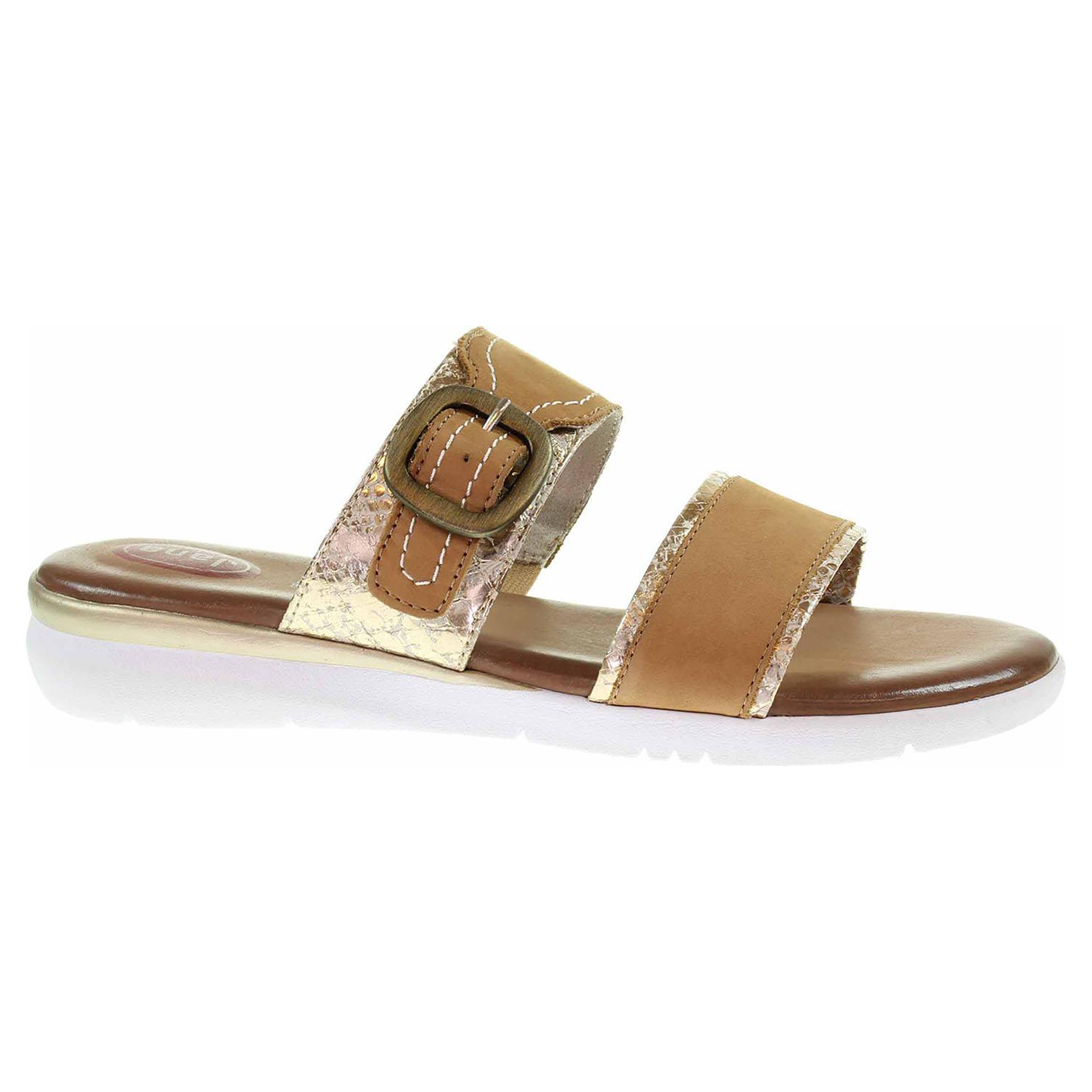 Dámské pantofle Jana 8-27107-26 cognac nubuk 8-8-27107-26 339 45
