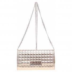 Guess dámská kabelka Matrix Laminated Quilted Clutch gold