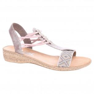 57fb284f3d46 Dámske sandále Rieker 61662-60 beige kombi